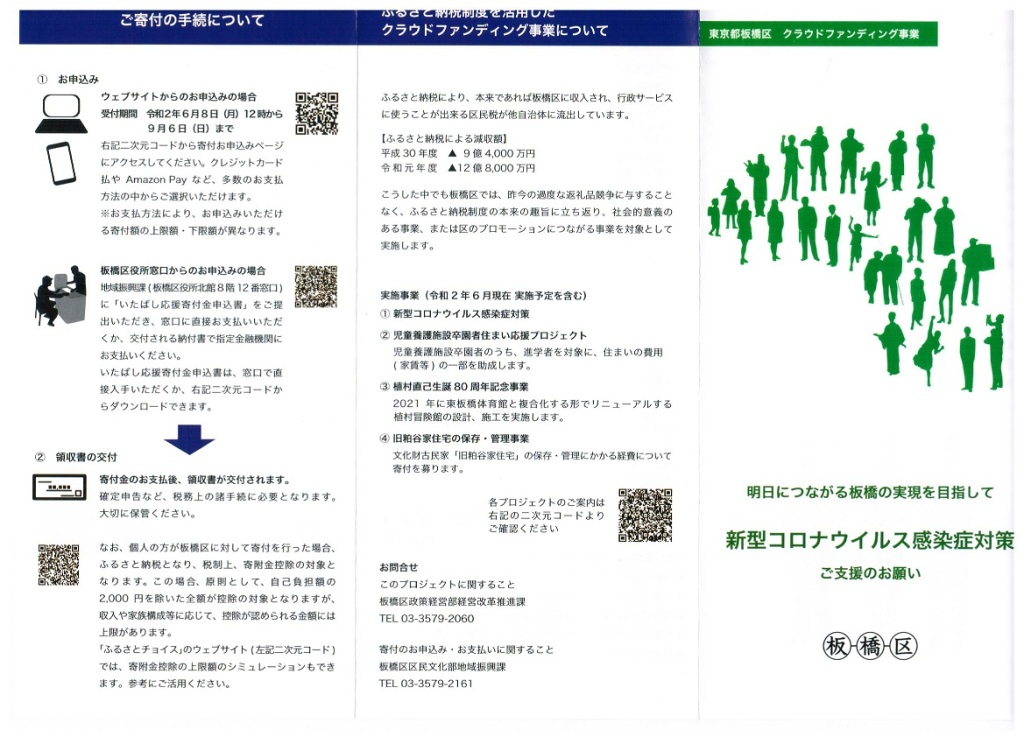新型コロナウイルス対策に関するクラウドファンディングのリーフレット